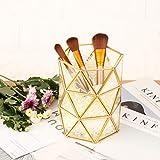 Feyarl Makeup Bürstenhalter Cosmetics Lagerung Organizer Makeup Pinsel Behälter Metall Glas Cosmetics Container (Gold)