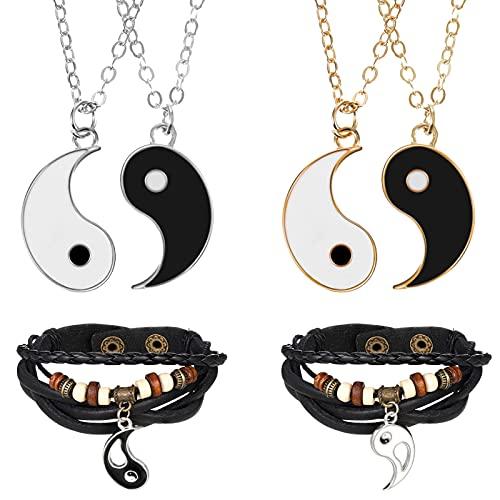 Smilcloud Ying Yang - Cadena con colgante de piel para parejas, cadenas de la amistad, Tai Chi, para mejores amigos, amantes y regalos para los colegas