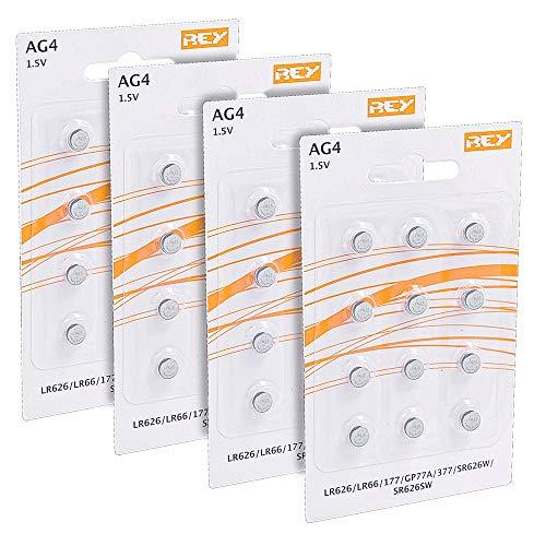 Lot de 48 Piles AG4 1.5V, Pile Bouton au Lithium Alcaline, LR626, LR66, 177, GP77A, 377, SR626W, ST626SW