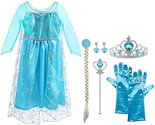Vicloon Princesa Disfraz Traje, Vestido Reina de la Nieve de Fairy Tale Designs, Zapatos y Accesorios para Niñas