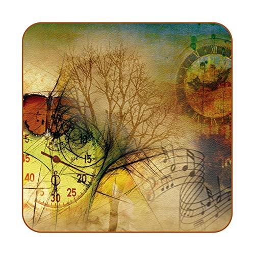 Juego de 6 relojes, mariposa, música, nota, árbol de la ciudad, retro, antideslizante, alfombrilla para tazas, almohadillas cuadradas de protección para mesa, posavasos para bebidas fáciles de limpiar