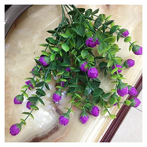 lliang Künstliche Blumen Mini Silk künstliche Rose Blumen gefälschte Kunststoff blätter Faux büsche 30 Heads außen Garten Dekoration weißen Zaun Wand dekor (Farbe : Purple)