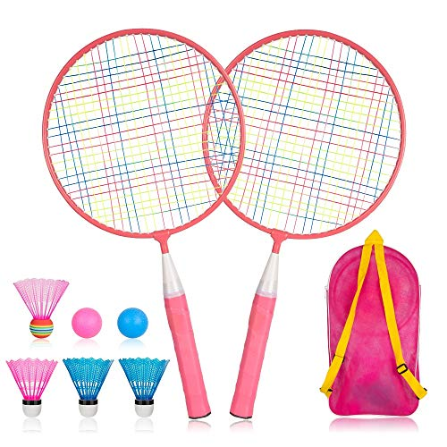 YWSS Juego de Raquetas de bádminton para niños 1 par, Juego de bádminton para niños, Juego de Raquetas de Tenis de bádminton, Juego de Raquetas Profesionales duraderas de aleación de Nailon