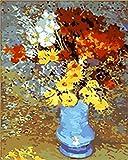 N\A Kits De Pintura por Números para Adultos - Kits De Regalo De Pintura Al Óleo DIY para Adultos Principiantes - Flores Rojas Blancas Amarillas, Margaritas