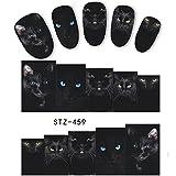5 Sheets Animal Black Cat Designs Nail Art Stickers Water Transfer Nail Tips Decal DIY Accessory Beauty Nail Decorations