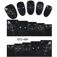5シート動物黒猫デザインネイルアートステッカー水転写ネイルのヒントデカールDIYアクセサリー美容ネイル装飾