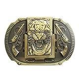 Vintage Bronze Plated Tiger Guns Belt Buckle