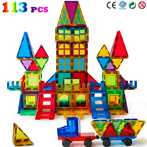 Magblock 113 PCS Magnetic Blocks, Magnetic Tiles Building Blocks for Kids ToysMagnet Toys Set 3D Building Blocks for Toddler Boys and Girls