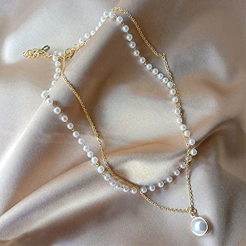 KONZFK collarSumeng 2021 Gargantilla de Perlas Collar Lindo Colgante de Cadena de Doble Capa para Mujer niña Regalo joyería