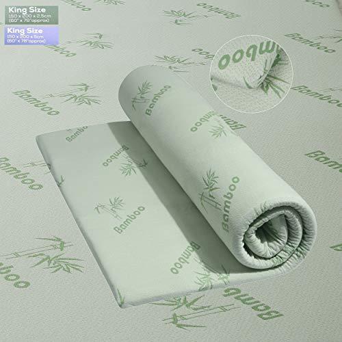 Diamonte Luxury Hotel Quality 2 Inch Bamboo Memory Foam Mattress Hypo-Allergy Topper UK Sizes (King)