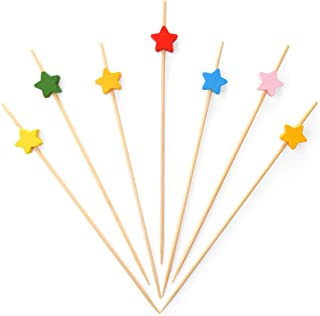 Bamboo Cocktail Picks 4.7 Inch, Handmade Party Toothpicks - Decorative Skewers for Appetizer, Drink, Fruit, Sandwich of Food Drinks Décor Disposable (Color Stars Shape, 100 Counts)
