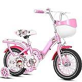 YANGMAN-L Niñas Bicicletas niños, Bicicletas para el Ciclo 2-9 Años de Edad del niño con la Cesta Ruedas de Entrenamiento y Pata de Cabra, Rosa,18inch