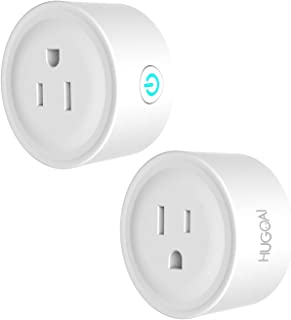 HUGOAI Smart Plug, WiFi Smart Outlet, Works with Alexa, Google Home & IFTTT, No Hub Required, ETL Listed, Remote Control Smart Home Devices, Smart Socket Only 2.4GHz WiFi (2 Pieces)