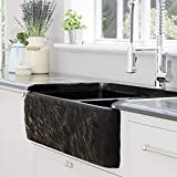 36' Kitchen Sink Buford Polished Black Granite 60/40 Offset Double-Bowl Farmhouse, Chiseled Apron, 1 Strainer Basket & 1 Disposal Flange, Brushed Nickel, Sink Supports Not Included, 36' L x 20' W