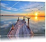 Steg mit Möwen bei Sonnenuntergang Format: 60x40 auf