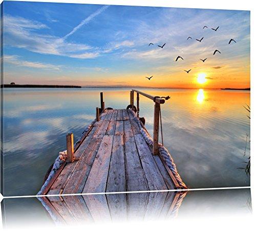 Steg mit Möwen bei Sonnenuntergang Format: 80x60 auf Leinwand, XXL riesige Bilder fertig gerahmt mit Keilrahmen, Kunstdruck auf Wandbild mit Rahmen, günstiger als Gemälde oder Ölbild, kein Poster oder Plakat