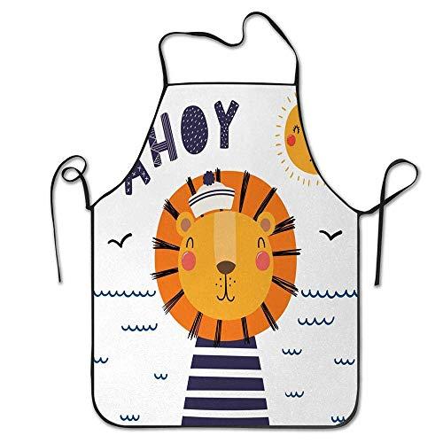 Not Applicable Kinderzimmer unter dem Motto Cartoon-Bild mit Sailor Lion Happy Sun und AHOI Schriftzug auf Wellen Schürze für Küche BBQ Barbecue Koch Chef Geschenk für Frauen/Männer