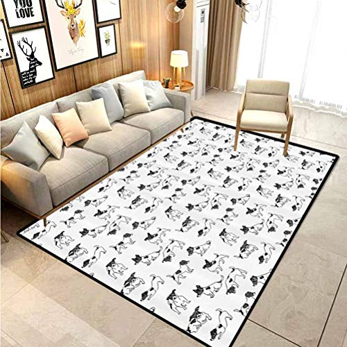 Dog Lover Soft Rugs for Living Room Sketch Style Hand Drawn Jack Russell Terrier Doodles in Various Stances Purebred Indoor Outdoor Carpeting Cloth 2 x 3 Ft