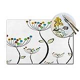 Asekngvo - Set di 1 tovagliette da tavolo con fiori in tessuto a forma di sirena e fiori resistenti al calore, lavabile, antiscivolo, per tavolo da pranzo, 30 x 45 cm