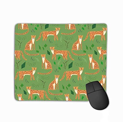 Alfombrilla de ratón infantil dibujo de dibujos animados jaguares naranja manchado verde bosque divertido textura leopardos niños Rectángulo goma Alfombrilla de ratón 23.4 x 19.8 cm