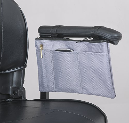 Ducksback armrest bag for mobility scooters, wheelchairs, and power chairs . Practical storage for wallets, purses, mobile phones, keys, pens.