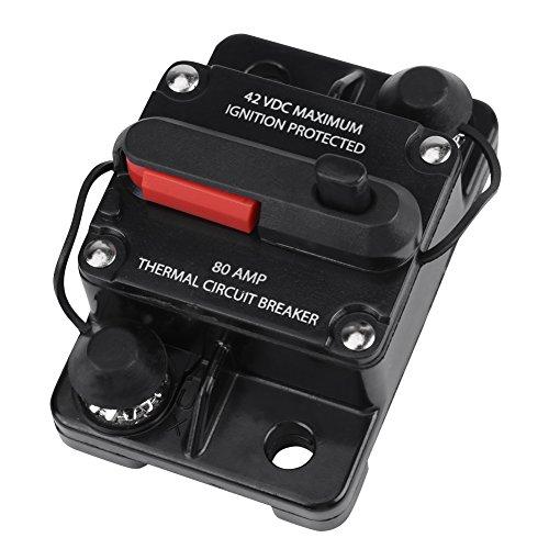 Car Audio Circuit Breaker 50A, 80A, 100A, 150A, 200A, 250A (Opzionale) DC12V-42V Reset manuale Car Stereo Audio Inline Circuit Breaker(80A)