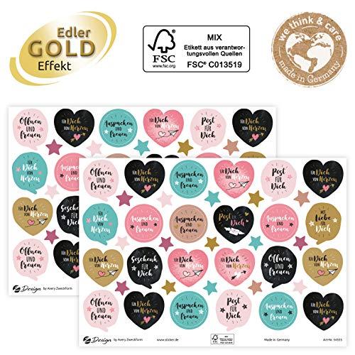 AVERY Zweckform Geschenkaufkleber 78 Sticker Auspacken und Freuen (Etiketten auf A5 Bogen, Klebeetiketten für Geburtstag, Geschenke und Karten, mit Goldeffekt) 54555