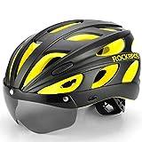 Casco ultraligero for bicicleta Casco deportivo negro de alta intensidad Casco for gafas con ventilación amarilla (Color : Negro)