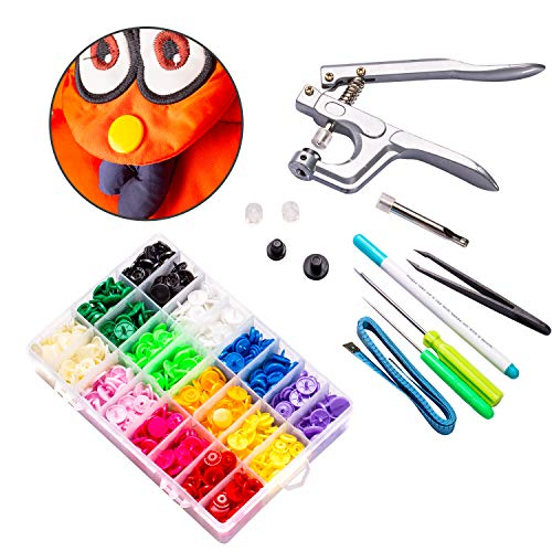 Lynda T8 Plastic Snap Fastener and Snap Pliers- Snap Fastener KIT with 240pcs Snap Buttons- for Diapers/Curtains/Kid's Clothes/Crafts