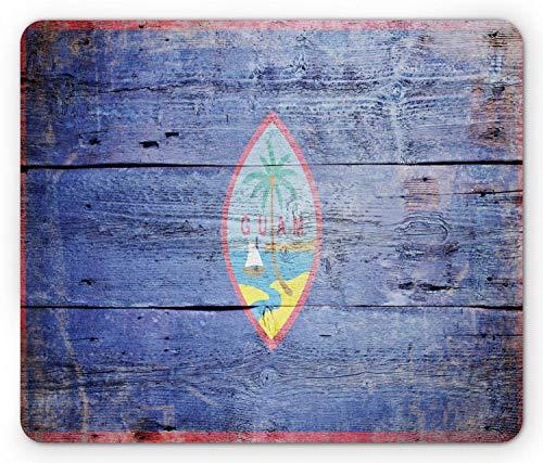 Büro Mausmatte,Spiel Mauspad,Matte Mit Genähten Kanten,Mousepads Für Computer,Guam Mouse Pad,Nationalflagge Palm Segelboot Gemalt Auf Old Grunge Look Holzplanke Bild Mousepad,Dunkelviolett Mehrfarbi