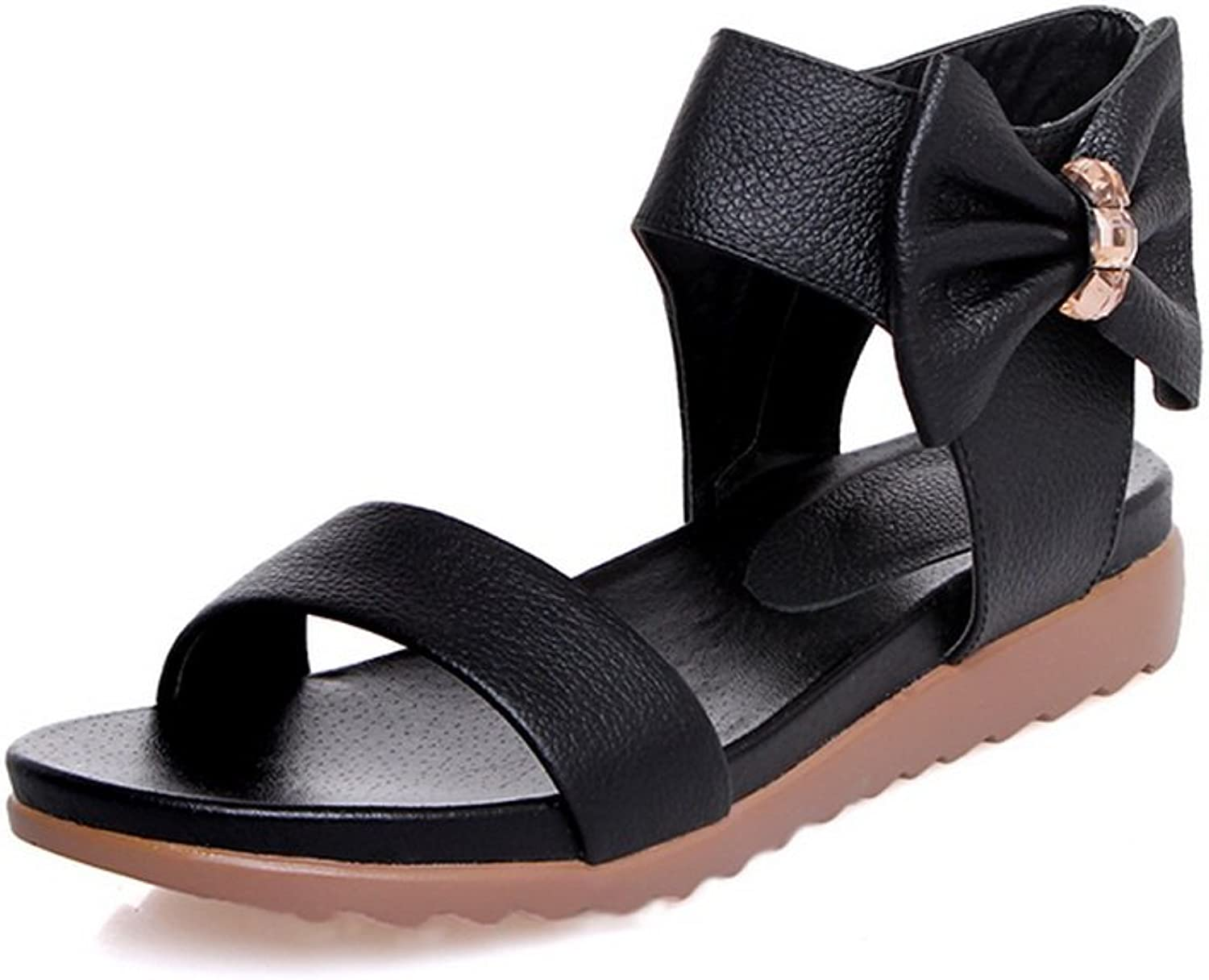Ladola Womens Metal Buckles Wedges Hollow Out Urethane Sandals DIU00545
