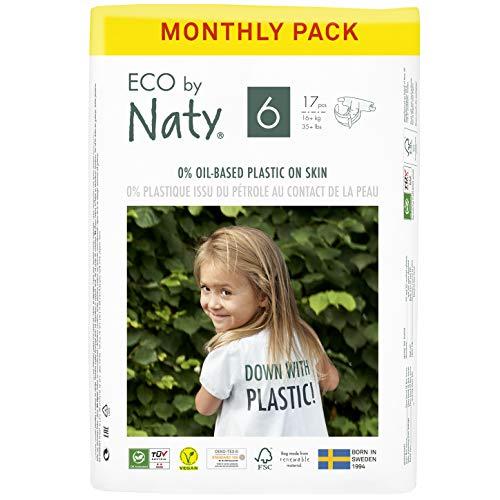 Eco by Naty Pañales, Talla/Tamaño 6, 102 unidades, +16 kg, suministro para UN MES, Pañal ecológico Premium hecho a base de fibras vegetales. 0% plásticos derivados del petróleo en contacto con la piel
