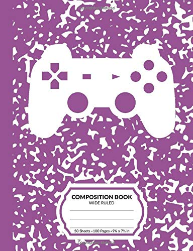 Composition Book: Gamer Purple Marble Pattern School Notebook | 100 Wide Ruled Blank Lined Writing Exercise Journal For Boys and Girls | Video Game Controller Back To School Gift For Students