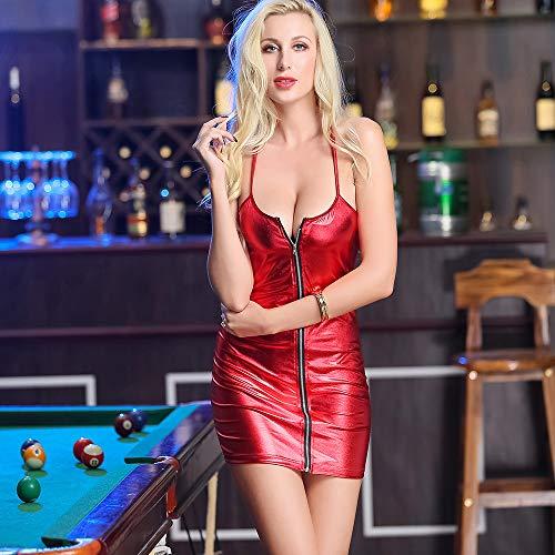 AFYH Sexy Minirock, Lady Siamese Kleid Model-Bühne, Rot, Charmanter Bogen, Reißverschluss-Design, Hochwertiges Leder, Komfortabler Eigenanbau,L