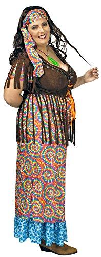 Hippie Retro Disfraz Rainbow Mujer para Grandes tamaños–Bonito para Disfraz de Mujer en XXL para Carnaval, Festival o Fiesta temática