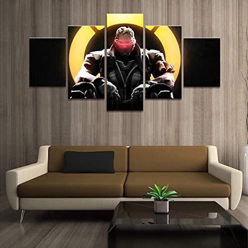 ADGUH 5 Stück LeinwandmalereiWohnkultur Poster Bilder Drucke Leinwand 5 Stück dunkler Soldat: dekorative Wohnzimmer Set Rahmenlos