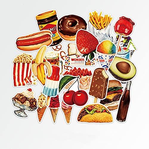 BUCUO Pegatinas de Comida rápida para Pastel de Hamburguesa, Pegatinas para Maleta para portátil, Pegatinas para Nevera, monopatín, Impermeables, 32 Uds