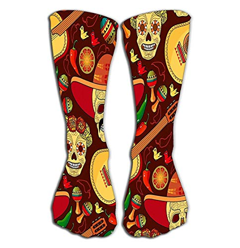 ouyjian Outdoor Sports Men Women High Socks Stocking Day Dead Smiling Skull Mustache Red Peppers Guitar Maracas Mexican Holiday Paintings Tile Length 19.7