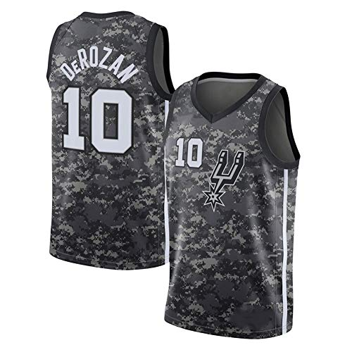 Basketball Trikot, San Antonio Spurs 10# Demar DeRozan Straße Retro T-Shirt Sommer Stickerei Tops Junge Swingman Basketball Kostüm Geburtstagsgeschenk (S-XXXL)-L(175cm.180cm)