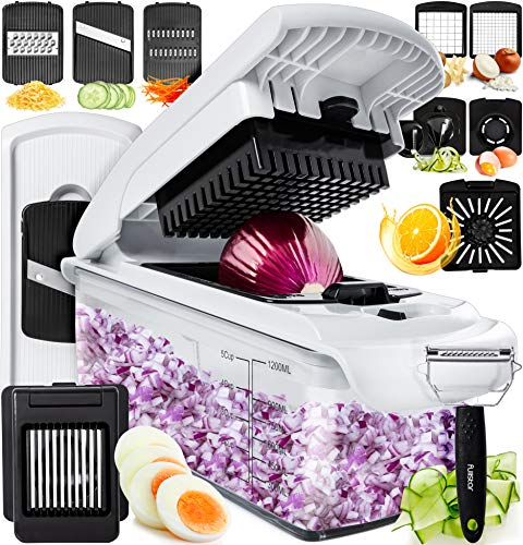 Fullstar Vegetable Chopper Dicer Mandoline Slicer - Food Chopper Vegetable Spiralizer Vegetable Slicer - Onion Chopper Salad Chopper Veggie Chopper Vegetable Cutter Food Slicer 11 Blades