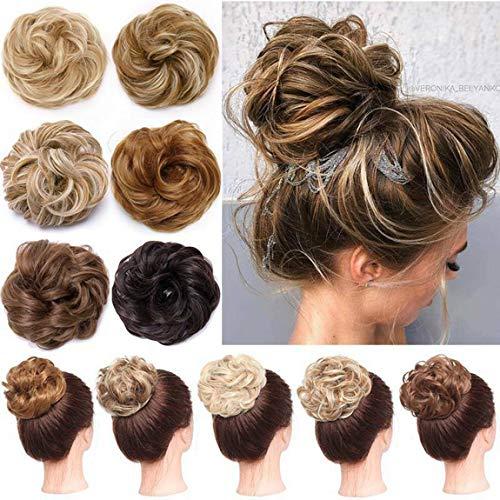 XXL Postiche Extension a Cheveux Naturel Caoutchouc Chouchou Chignons Bouclés Chignon Updo Hair Bun Marron clair