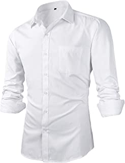 Beninos Men's Slim Fit Solid Point Collar Button Down Dress Shirts