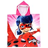 Coole-Fun-T-Shirts Miraculus Badehandtuch mit Kapuze Ladybug Kapuzenhandtuch Mädchen Pink