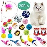 WolinTek Giocattoli per Gatti, 20 Pezzi Gatto Giocattoli Interattivi Gioco per Gattino Kitten Indoor