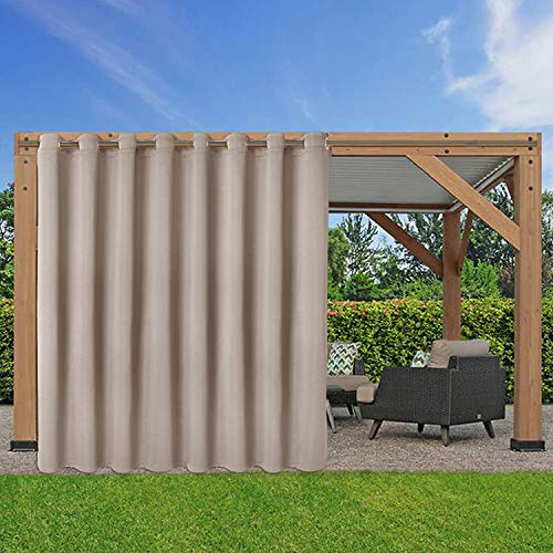 LORDTEX Waterproof Indoor/Outdoor Curtains for Patio - Thermal Insulated, Sun Blocking Blackout Curtains for Bedroom, Porch, Living Room, Pergola, Cabana, 105 x 84 inch, Khaki, Set of 2 Panels