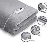 InvoSpa Electric Throw Heated Blanket - 50' x 60' Flannel & Sherpa Fast Heating Blanket, with 3 Heating...