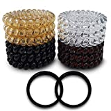 Spiral Coiled Phone Hair Ties - BelleJiu 12 Pack, Flexible No Crease Spiral Phone Cords for Thick,...