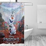 Die Eiskönigin Elsa Duschvorhang, süßes buntes Design, wasserdichter Stoff, Badezimmer-Duschvorhang-Set mit 12 Haken, 167,6 x 182,9 cm