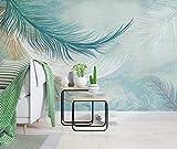 Fotomural 3D Acuarela Azul Pluma Minimalista Tv Fondo Papel Pintado Pintura De Pared