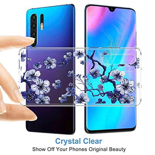 pooier Kompatibel Mit Huawei P30 Pro Hülle Durchsichtig Silikon Handyhülle Ultra Slim Wasserdicht Schutzhülle Elegant Muster Clear Rosa Blumen Tasche (Huawei P30 Pro, TPU Lila) - 2